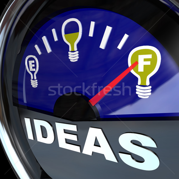 Full of Ideas - Innovation Fuel Gauge for Success Stock photo © iqoncept