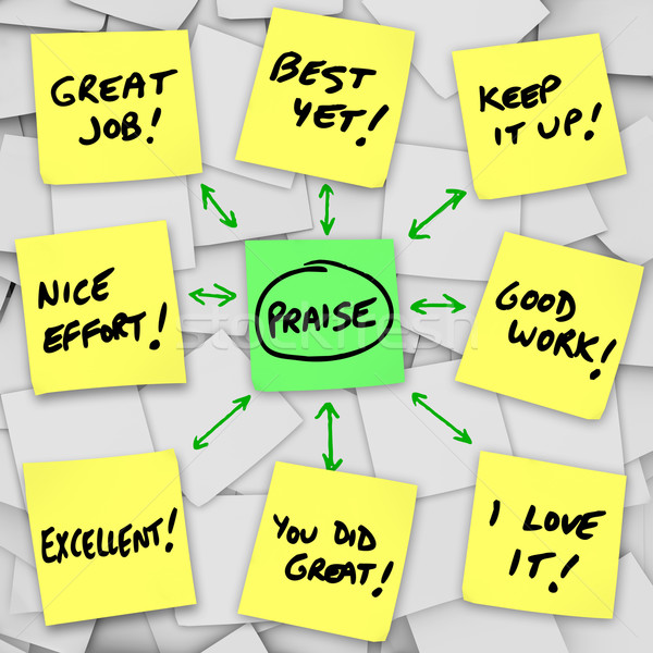 Praise Positive Reviews and Comments on Sticky Notes Stock photo © iqoncept