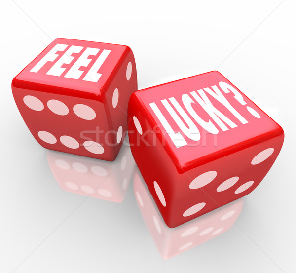 Feel Lucky Question on Dice Winning Confidence Stock photo © iqoncept