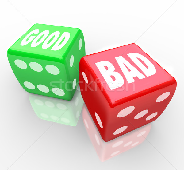 Good Vs Bad Dice Lucky Roll to Decide Answer  Stock photo © iqoncept