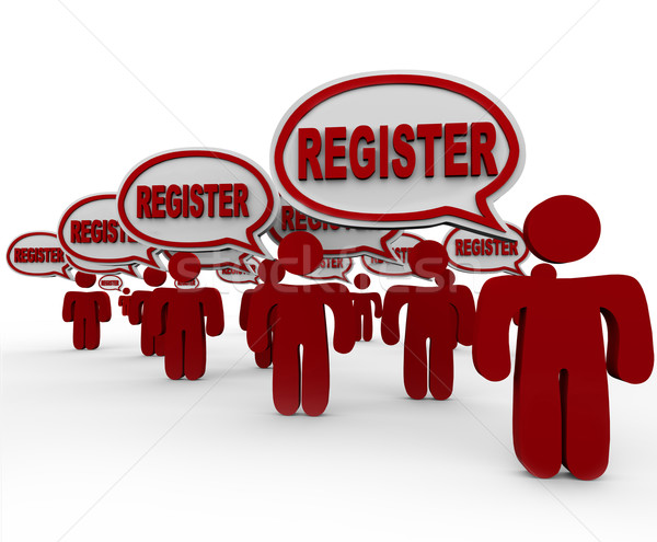 Register People Talking Speech Bubbles Join Club Registration Stock photo © iqoncept