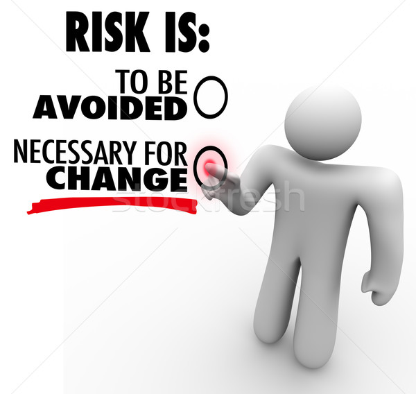 Risk is to Be Avoided or Necessary for Change Man Chooses Button Stock photo © iqoncept