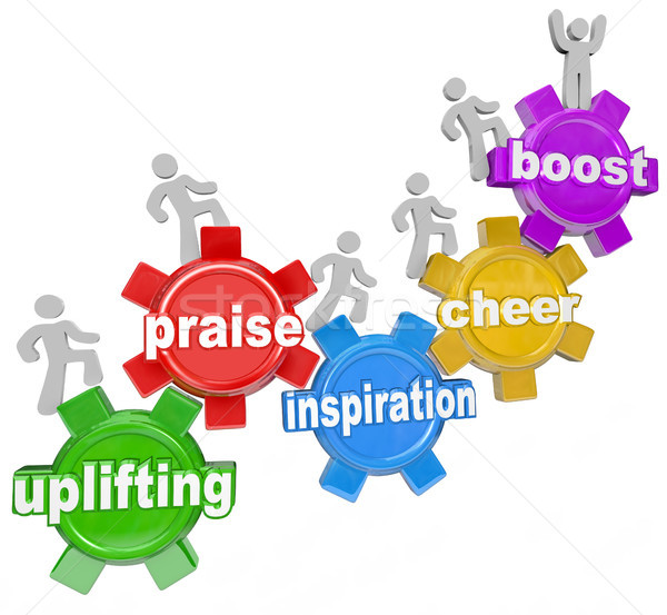 Stock photo: Uplifting Words Team Climbing Gears Praise Cheer Inspiration
