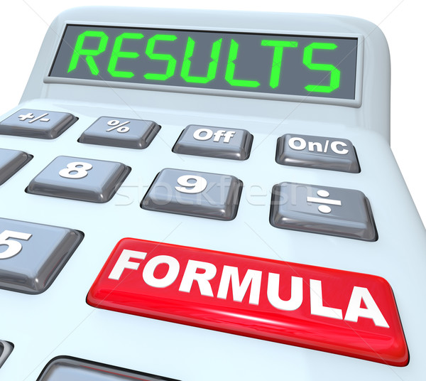 Formula and Results Words on Calculator Budget Math Stock photo © iqoncept