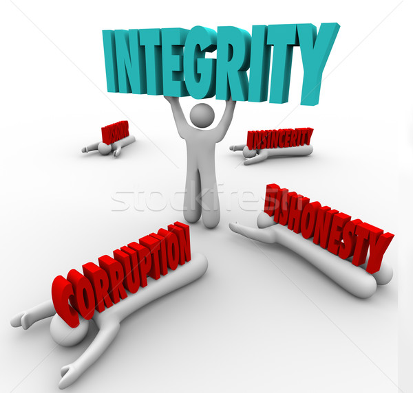 Integrity Person Lifting Word Competitive Advantage Best Leader Stock photo © iqoncept