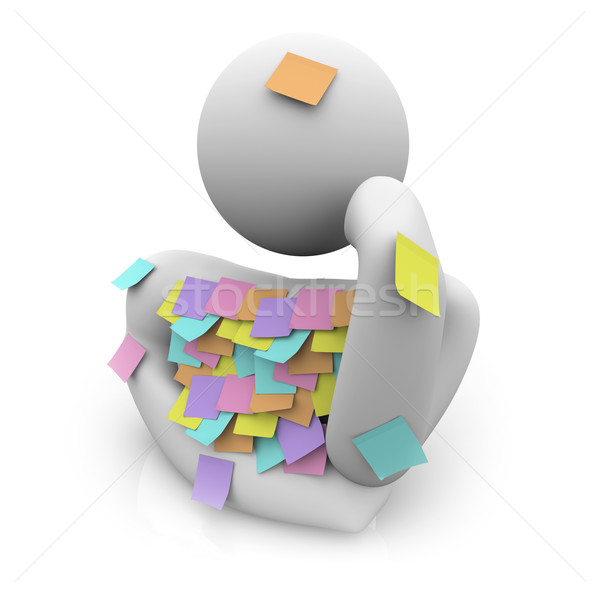 Stock photo: Person Trying to Remember - Sticky Notes