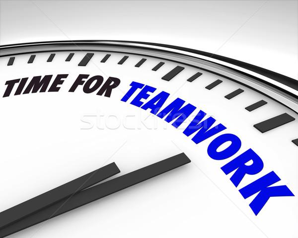Foto stock: Tempo · trabalho · em · equipe · relógio · branco · palavras · trabalhar