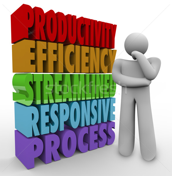 Productivity Efficiency Words Thinker Business Improve Output Stock photo © iqoncept