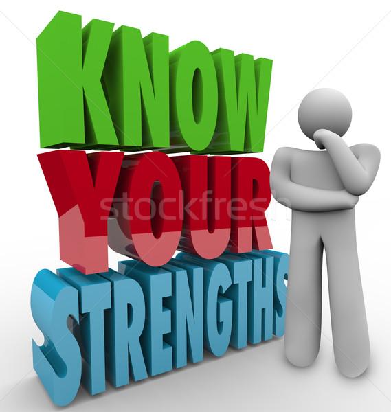 Pessoa pensando especial habilidades competitivo palavras Foto stock © iqoncept