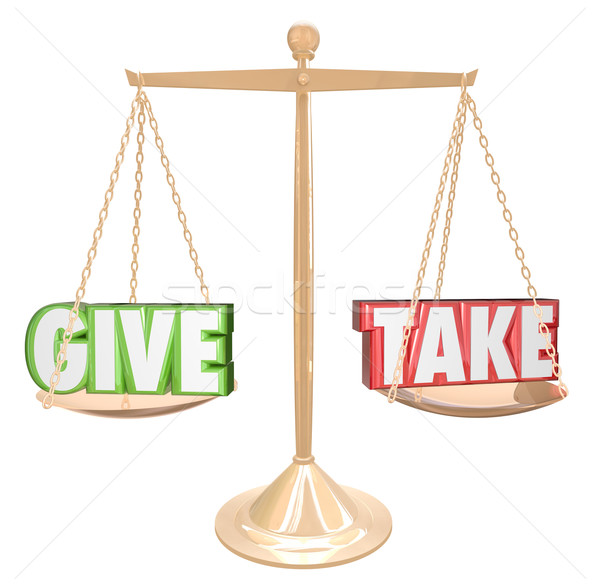 Give and Take Gold Scale Balance Sharing Generous Cooperation Stock photo © iqoncept