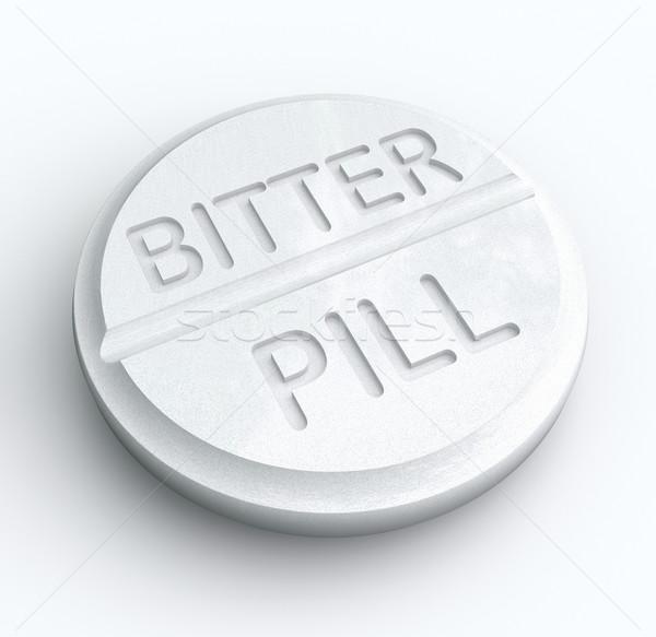 Keserű tabletta gyógyszer szó recept tabletta Stock fotó © iqoncept