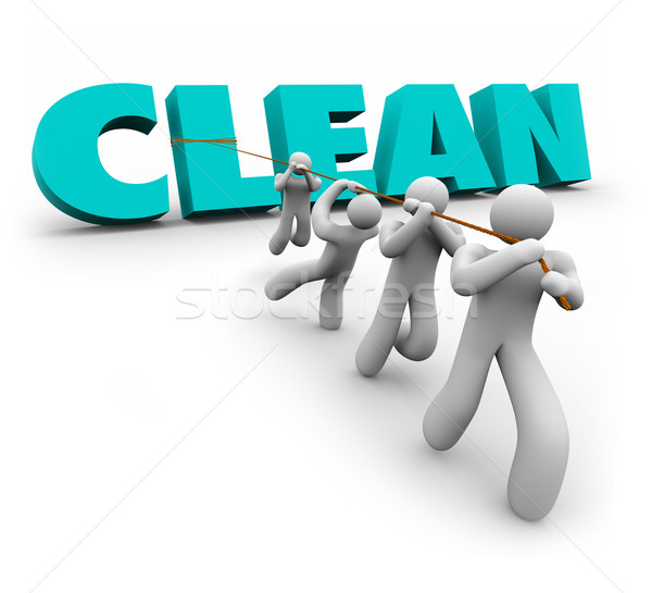 Clean 3d Word Pulled Up Team People Working Together Cleaners Stock photo © iqoncept