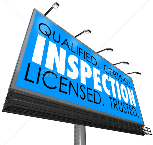 Inspection Qualified Certified Licensed Trusted Billboard Advert Stock photo © iqoncept