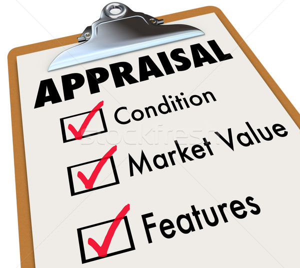 Appraisal Words Checklist Clipboard Factors Condition Market Val Stock photo © iqoncept