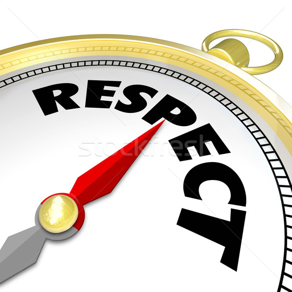 Respect Word Gold Compass Direction Earn Reputation Advice Stock photo © iqoncept