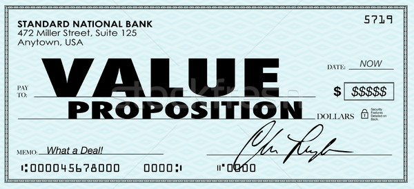 Value Proposition Check Money Selling Buying Benefits Products Stock photo © iqoncept