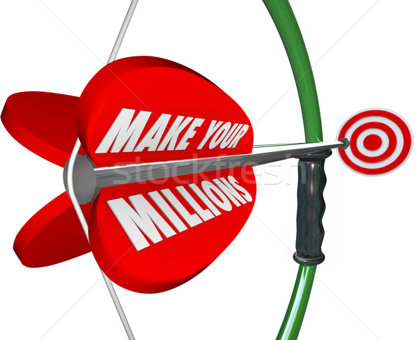 Make Your Millions Bow Arrow Aiming Target Wealth Riches Goal Bu Stock photo © iqoncept