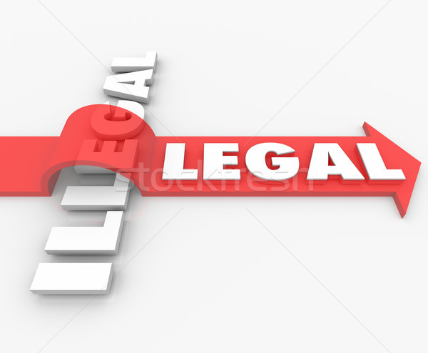 Legal Vs Illegal Law Red Arrow Over Word Guilty or Innocent Stock photo © iqoncept