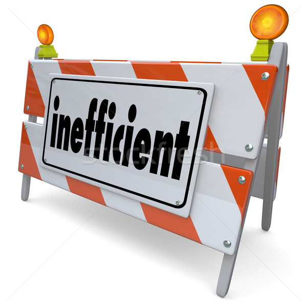 Inefficient Ineffective Unproductive Road Construction Sign Barr Stock photo © iqoncept