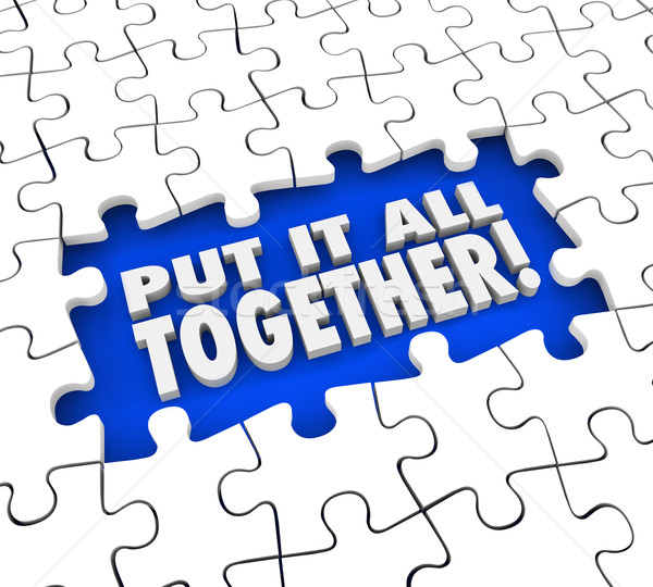 Put It All Together Puzzle Pieces Solve Mystery Problem  Stock photo © iqoncept
