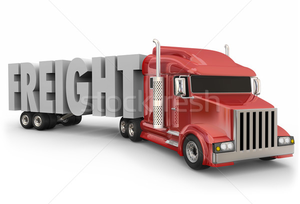 Freight Red Truck Hauling Goods Products Merchandise Delivery Stock photo © iqoncept
