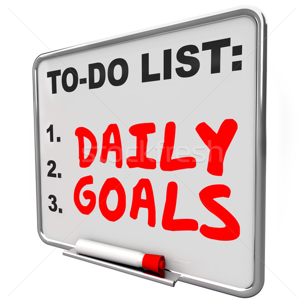 Daily Goals To Do List Message Board Priorities Tasks Jobs Stock photo © iqoncept
