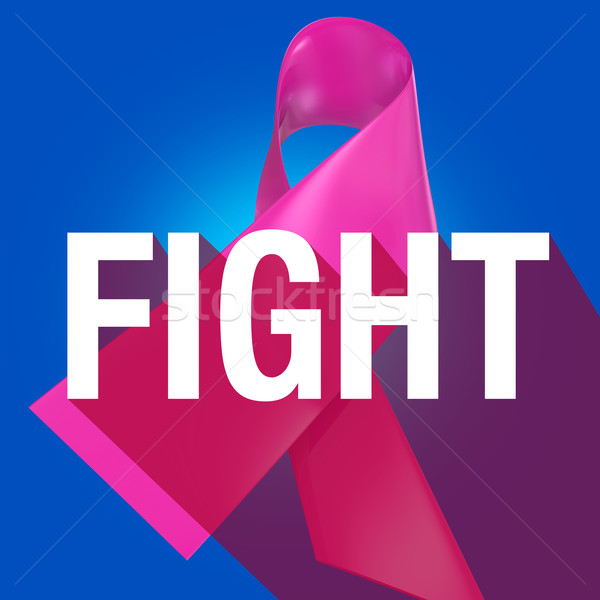 Fight Breast Cancer Pink Ribbon Symbol Long Shadow Word Stock photo © iqoncept