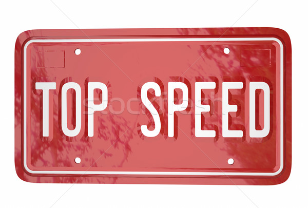 Top Speed Car Vehicle Race Driving Win Competition License Plate Stock photo © iqoncept