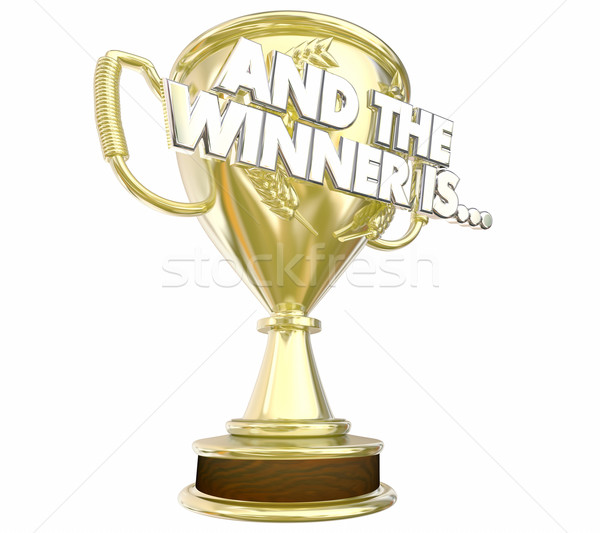And the Winner Is Award Trophy Announcement 3d Illustration Stock photo © iqoncept