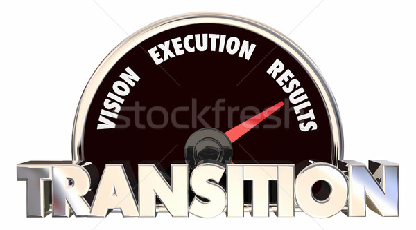 Transition Vision Strategy Execution Speedometer Plan 3d Illustr Stock photo © iqoncept