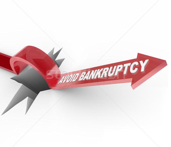Csőd pénzügyi gyógyulás nyíl lyuk szavak Stock fotó © iqoncept
