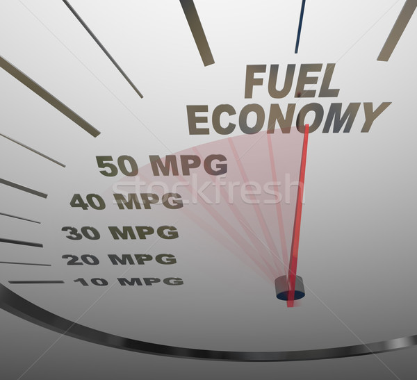 Fuel Economy Speedometer Measures MPG Efficiency in Car or Vehic Stock photo © iqoncept