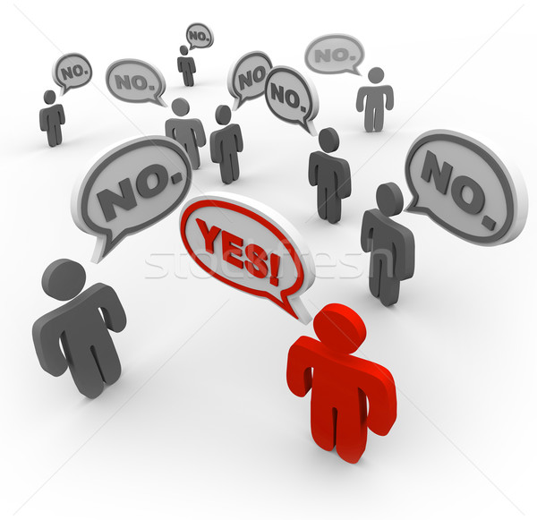 One Person Says Yes While Many People Say No - Disagreement Stock photo © iqoncept