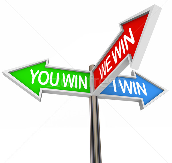 You and I Win We All Are Winners - 3 Way Street Sign Stock photo © iqoncept