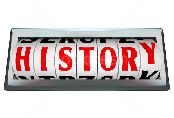 History Word in Odomoter Dial Bar Shows Passage of Time Stock photo © iqoncept