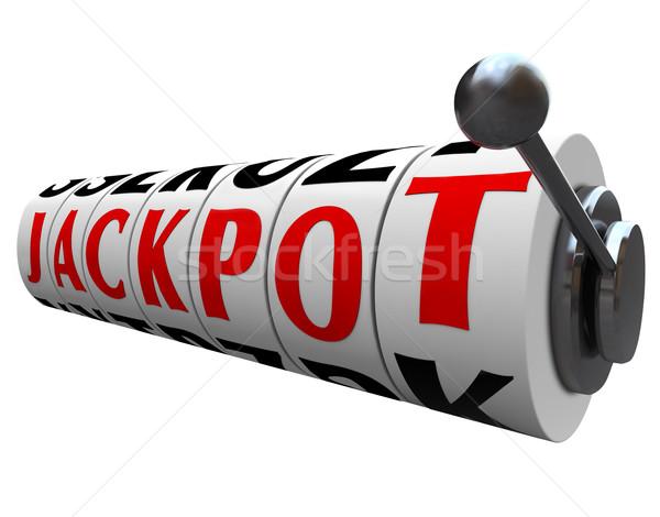 Főnyeremény szó játékautomata kerekek pénz játék Stock fotó © iqoncept