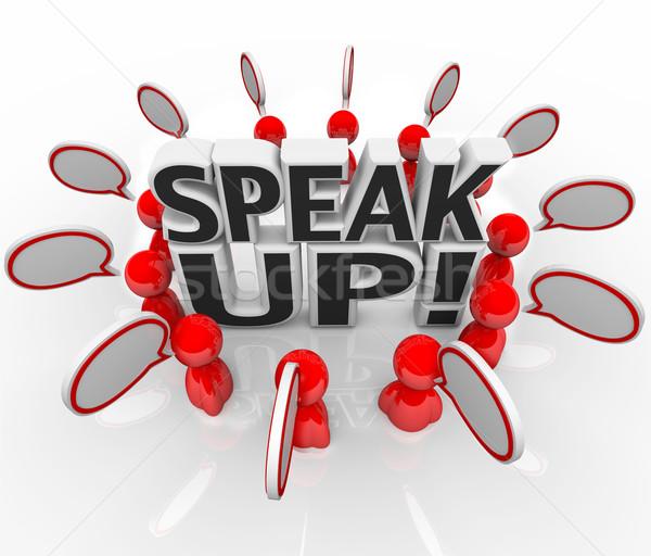 Sprechen up Sprechblase Menschen sprechen Gruppe sprechen Stock foto © iqoncept