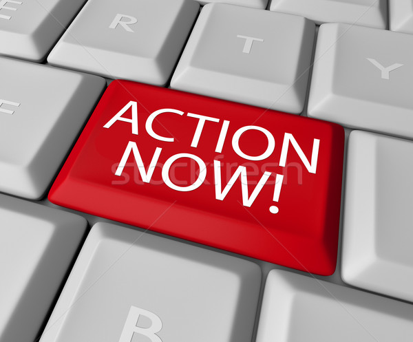 Action Now Computer Key Demanding Urgent Act Stock photo © iqoncept