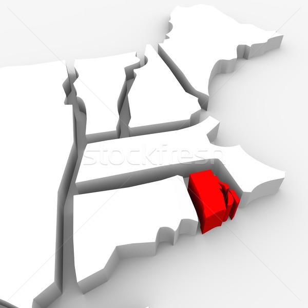 Rhode Island kırmızı soyut 3D harita Amerika Birleşik Devletleri Stok fotoğraf © iqoncept