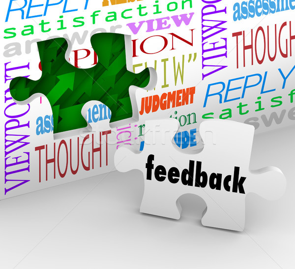Feedback Puzzle Wall Words Customer Service Survey Stock photo © iqoncept