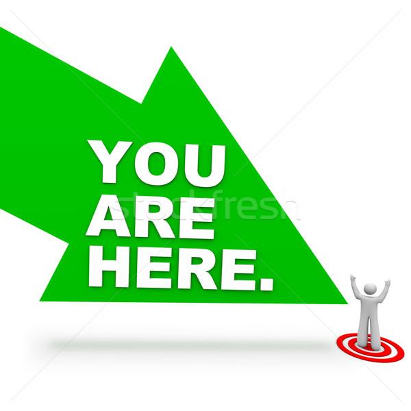 Aqui seta pessoa grande verde palavras Foto stock © iqoncept