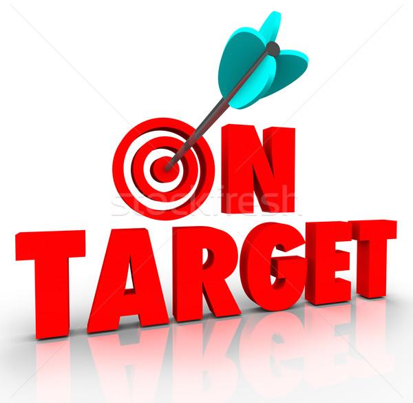Cel słowa arrow oka kierować misji Zdjęcia stock © iqoncept
