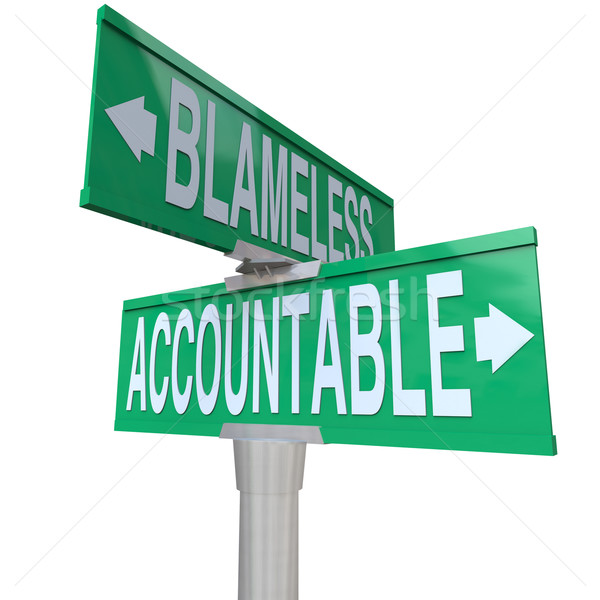 Accountable Vs Blameless Two Way Road Street Intersection Signs Stock photo © iqoncept