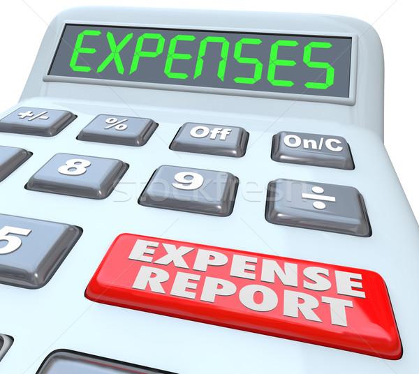 Despesa relatório negócio relatórios palavras calculadora Foto stock © iqoncept