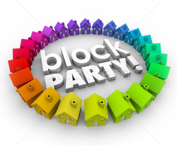 Partij huizen buurt gemeenschap viering evenement Stockfoto © iqoncept
