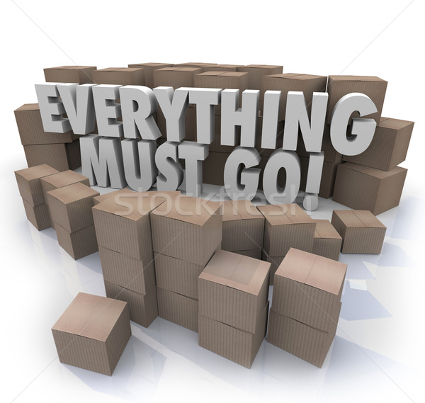 Everything Must Go Boxes Overstock Inventory Store Closing Sale Stock photo © iqoncept