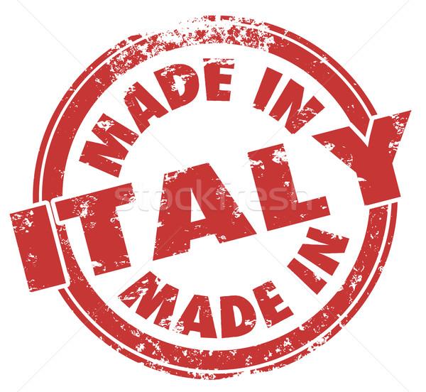 Италия слов красный штампа итальянский товары Сток-фото © iqoncept