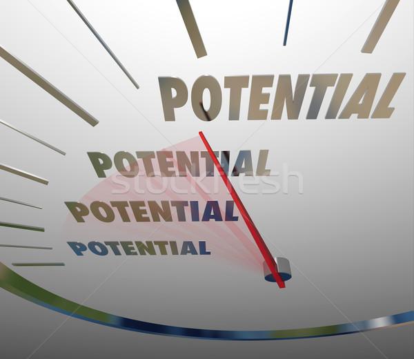 Potenciál szó tele lehetséges alkalom sebességmérő Stock fotó © iqoncept