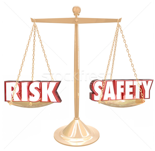 Risk Vs Safety Words Balance Scale Comparing Danger Options Stock photo © iqoncept