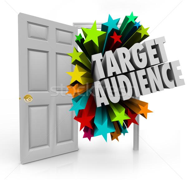 Objetivo audiencia puerta abierta palabras mejor Foto stock © iqoncept